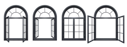 Collection of black arched windows isolated on white Stock Photos
