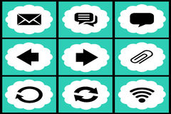 Collection of black and azure web icons. On white background Stock Photo