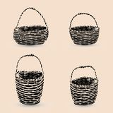 Collection of black baskets, silhouette on beige background,. Vector Royalty Free Stock Photography