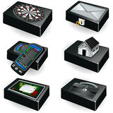 Collection of black boxes Stock Photo