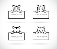 Collection of cartoon cats head with frame space for your text. Pet. Animals. Easy editable layered vector illustration. Collection of black cartoon cats head stock illustration