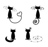 Collection of black cats humorous. Collection of black cats in funny poses humorous Stock Photo
