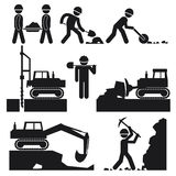 Collection of Black Construction Earthworks Icons Stock Images