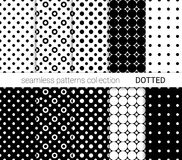 Collection of black dotted seamless patterns. vector illustration
