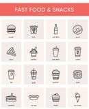 Collection of 16 black fast food vector icons. Collection of 16 fast food and snack vector icons. Black line isolated pictograms for web and print design vector illustration