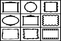 Collection of black frames Royalty Free Stock Photos