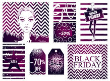 Collection with Black Friday sale banner. Set of discount card. Fashion newsletter designs poster template. Black friday sales, discount, advertising Royalty Free Stock Images