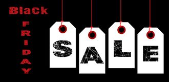 Black Friday Sale Tags. A collection of  black friday Tags spelling out the world sale over black Stock Image