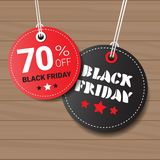 Collection Of Black Friday Tags On Wooden Textured Background Round Shopping Icons  Stock Image