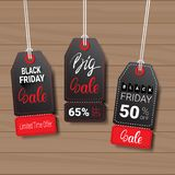 Collection Of Black Friday Tags On Wooden Textured Background Shopping Icons And Logos Set Design Stock Photography