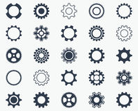Collection of black gear wheel icons vector illustration