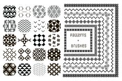 20 Vector Geometric Patterns and 7 Pattern Brushes Stock Images