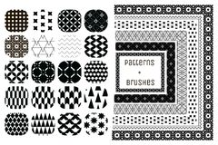 20 Vector Geometric Patterns and 6 Pattern Brushes Royalty Free Stock Photo