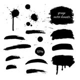 Collection black grunge watercolor element Royalty Free Stock Photography