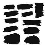 A collection of black grungy abstract hand-painted brush strokes banner. Vector Stock Photography