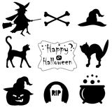 Collection of black halloween icons. Royalty Free Stock Photos