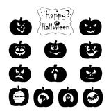 Collection of black halloween icons. Stock Photos