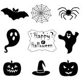 Collection of black halloween icons. Royalty Free Stock Images