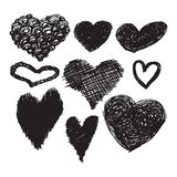 Collection of black hand-drawn sketch hearts for Valentines Day Royalty Free Stock Photo