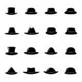 Collection of black hats,  illustration. Set of black hats,  illustration Royalty Free Stock Image