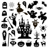Collection of black icons Halloween on a white background Stock Photography
