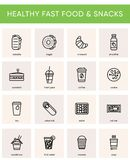 Black icons for healthy fast food cafe. Collection of 16 black icons for healthy fast food or fast casual restaurant or cafe. Black line isolated pictograms for vector illustration