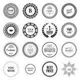 Collection black labels for promo seals. Vintage sticker with te. Xt. Can be use for design certificate. Quality stickers round. Vector retro objects Stock Images