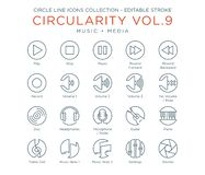 Circle Icons Collection - Music and Media stock illustration