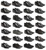 Collection of black male shoes. Over white Stock Image