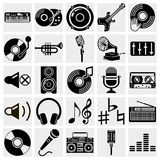 Vector black music icons set on gray Stock Photography