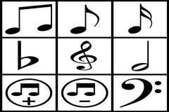 Collection of black musical note Stock Photo