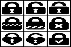Collection of black padlocks Royalty Free Stock Image