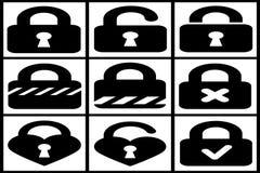 Collection of black padlocks. On white background Royalty Free Stock Image