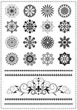 Collection black patterns and borders. On a white background Royalty Free Stock Image