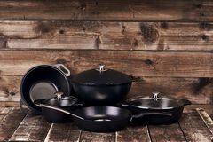 Collection of black pots Royalty Free Stock Photography