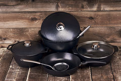Collection of black pots Stock Photography