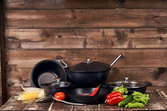 Collection of black pots Stock Photo