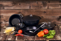 Collection of black pots Royalty Free Stock Photo