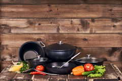 Collection of black pots Royalty Free Stock Photos