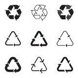 Collection of black recycle icons on white background Stock Images