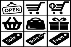 Collection of black shopping icons Royalty Free Stock Image