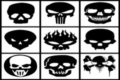 Collection of black skulls Royalty Free Stock Photo