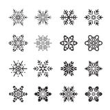 Collection of black Snowflakes. Vector Illustration Royalty Free Stock Photo