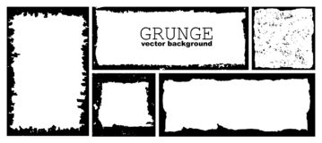 Set of ink grunge frames with damaged edges. Black distress border. Vector hand draw template. Collection of black square and rectangular grunge frames with stock illustration