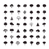 Collection of Black Trees. Stock Images