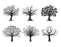 Collection of Black Trees. Vector Illustration. Royalty Free Stock Photo