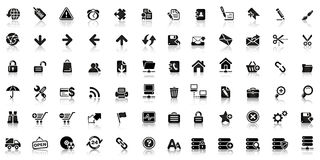 Collection of black web icon royalty free illustration