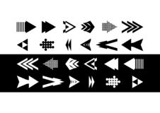 Collection of black and white arrows. Unique arrow icon. Icon arrow Arrow collection stock illustration