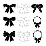 Collection of black and white bows vector Stock Photos