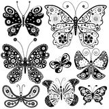 Collection black and white butterflies Royalty Free Stock Photography